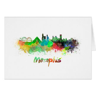 Memphis skyline in watercolor card