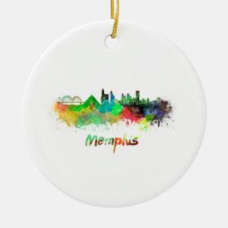 Memphis skyline in watercolor ceramic ornament
