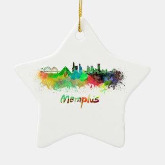 Memphis skyline in watercolor ceramic star ornament