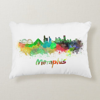 Memphis skyline in watercolor decorative pillow