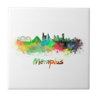 Memphis skyline in watercolor tile