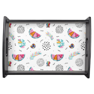 Memphis Style Tropical Summer Pattern Serving Tray