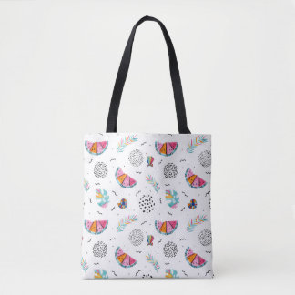 Memphis Style Tropical Summer Pattern Tote Bag