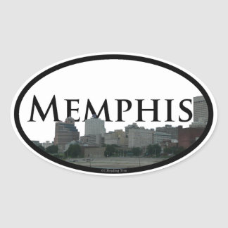 Memphis, Tennessee Skyline with Memphis in the sky Oval Sticker