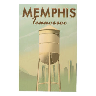 Memphis Tennessee vintage travel poster Wood Canvas