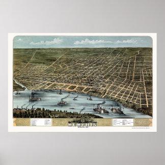 Memphis, TN Panoramic Map - 1870 Poster