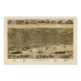 Memphis, TN Panoramic Map - 1887 Poster