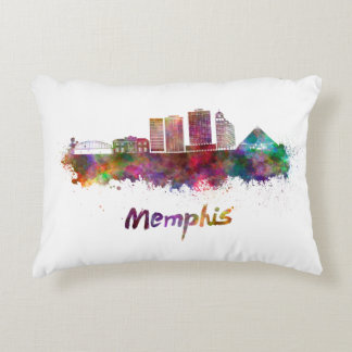 Memphis V2 skyline in watercolor Accent Pillow