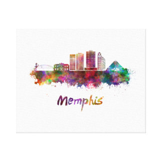 Memphis V2 skyline in watercolor Canvas Print