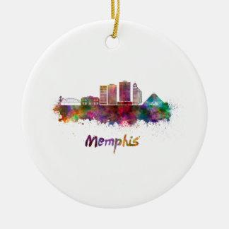 Memphis V2 skyline in watercolor Ceramic Ornament