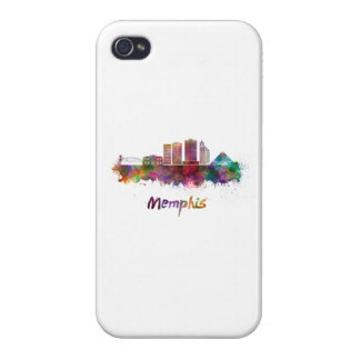 Memphis V2 skyline in watercolor iPhone 4 Cases