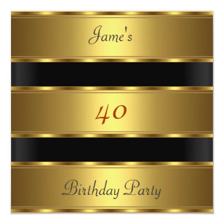Men 40th birthday Party Gold Black Card