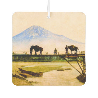 Men and Horses on Bridge Beneath Mt. Fuji Vintage Car Air Freshener