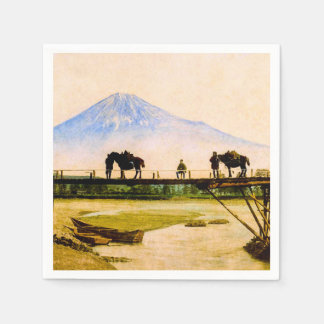 Men and Horses on Bridge Beneath Mt. Fuji Vintage Disposable Napkin
