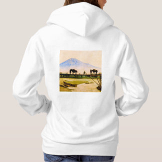Men and Horses on Bridge Beneath Mt. Fuji Vintage Hoodie