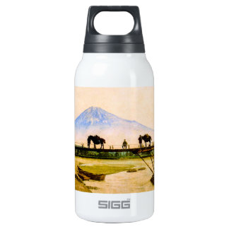 Men and Horses on Bridge Beneath Mt. Fuji Vintage Insulated Water Bottle