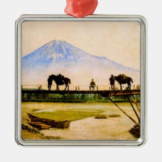 Men and Horses on Bridge Beneath Mt. Fuji Vintage Metal Ornament