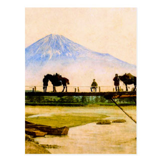 Men and Horses on Bridge Beneath Mt. Fuji Vintage Postcard