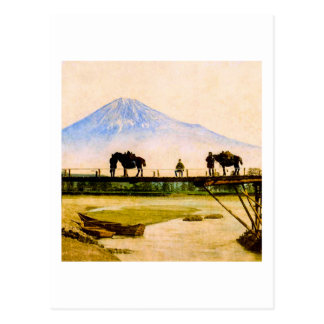 Men and Horses on Bridge Beneath Mt. Fuji Vintage Postcard