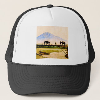 Men and Horses on Bridge Beneath Mt. Fuji Vintage Trucker Hat