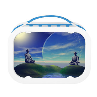men and moon yellow and sky lunch box