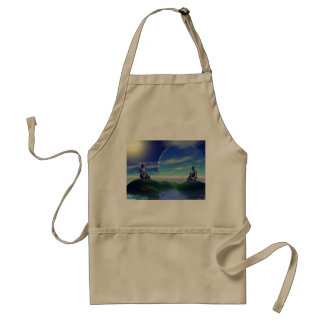 men and moon yellow and sky standard apron