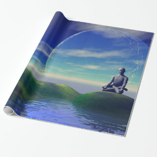 men and moon yellow and sky wrapping paper