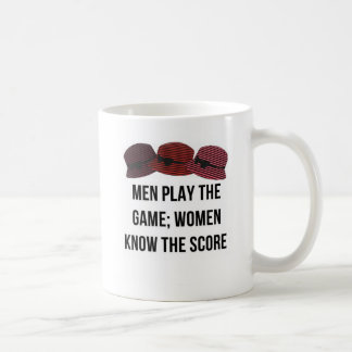 Men and women play funny phrase mug