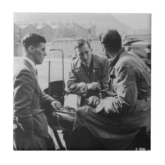 Men Chatting Old Image Small Ceramic Photo Tile