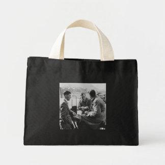 Men Chatting Vintage Black & White Image Tiny Tote Mini Tote Bag