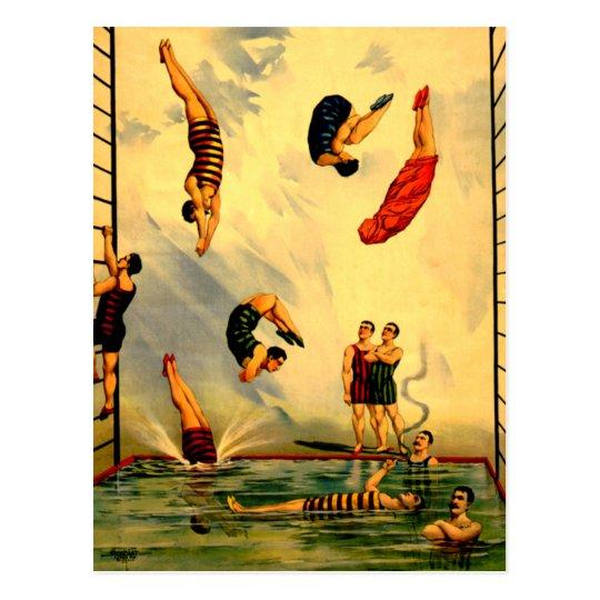 Men diving into Pool Vintage 1898 Circus Poster Postcard