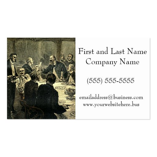 Men Drinking at the Club Vintage Illustration Business Card