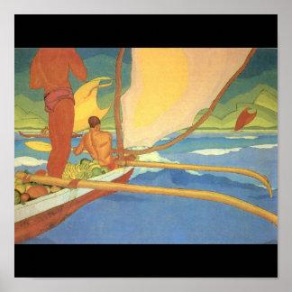 Men in an Outrigger Canoe Headed for Shore Poster
