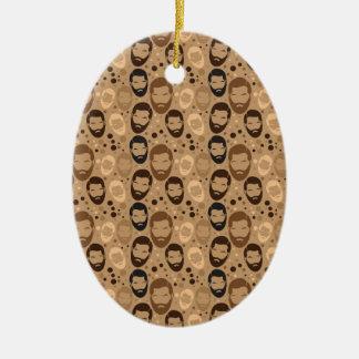 Men in Beards pattern Ceramic Ornament