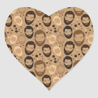 Men in Beards pattern Heart Sticker