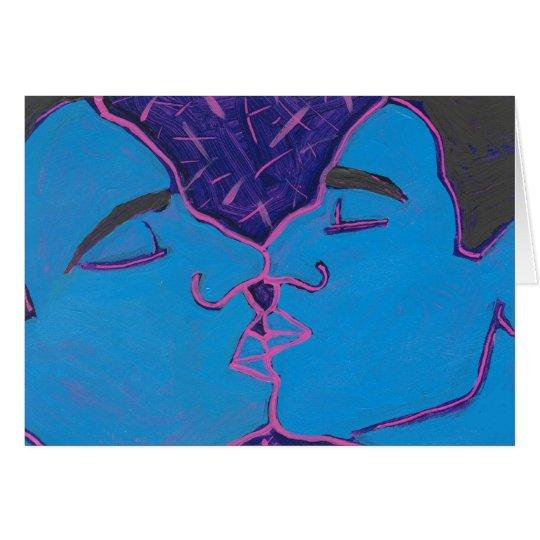 Men Kissing Blue Card