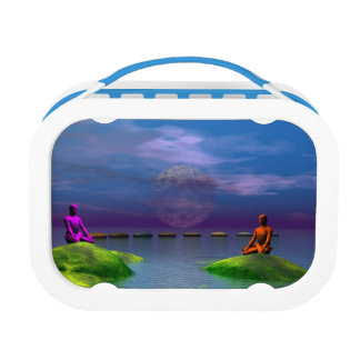 men orange and purple and hills lunch box