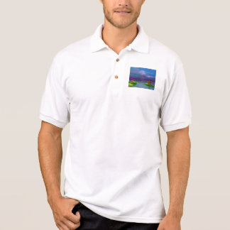 men orange and purple and hills polo shirt