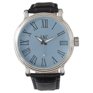 Men Personalized Initials Roman Numeral Blue Watch