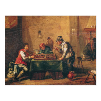 Men Playing Backgammon in a Tavern Postcard