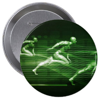 Men Running on Technology Background as a Science 4 Inch Round Button