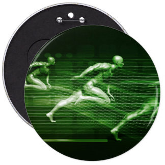 Men Running on Technology Background as a Science 6 Inch Round Button