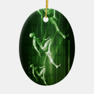 Men Running on Technology Background as a Science Ceramic Ornament