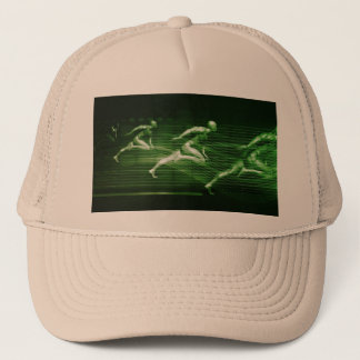Men Running on Technology Background as a Science Trucker Hat