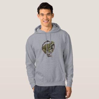 Men's gray frog camping hoodie. hoodie