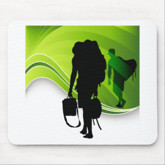 Men Walking With Backpacks Luggage Silhouette Mouse Pad