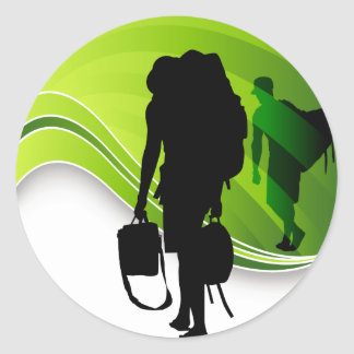 Men Walking With Backpacks Luggage Silhouette Round Sticker