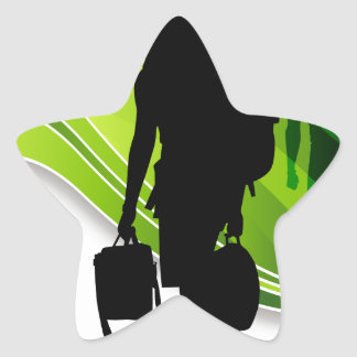 Men Walking With Backpacks Luggage Silhouette Star Sticker