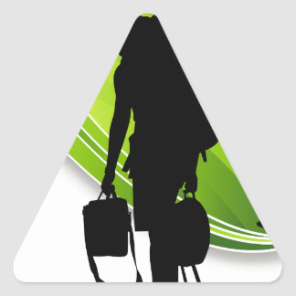 Men Walking With Backpacks Luggage Silhouette Triangle Sticker