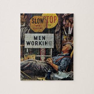 Men Working Jigsaw Puzzle